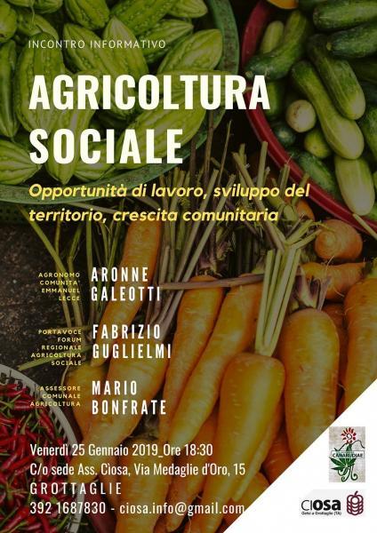 Agricoltura sociale, un incontro pubblico a Grottaglie