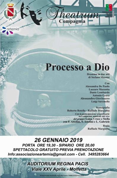 """""""Processo a Dio"""" il 26 gennaio lo spettacolo gratuito dedicato alla Shoa con la Compagnia Theatrum e il gruppo Luna Croce e Stella"""