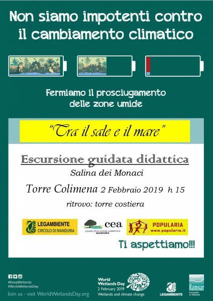 """""""Tra il sale e il mare"""": sabato 2 febbraio escursione guidata gratuita alla Salina Monaci Basiliani."""