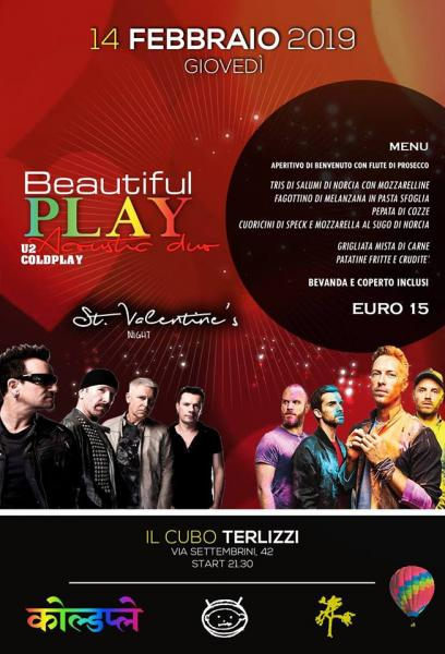 San Valentino con i Beautiful Play al Cubo di Terlizzi - U2&Coldplay Night