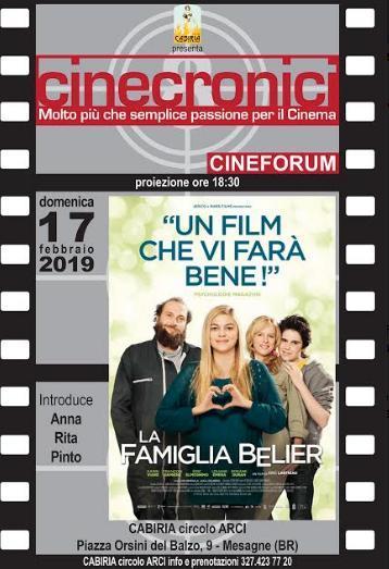 """Per """"Cinecronici"""" proiezione del film """"La famiglia Bélier"""""""