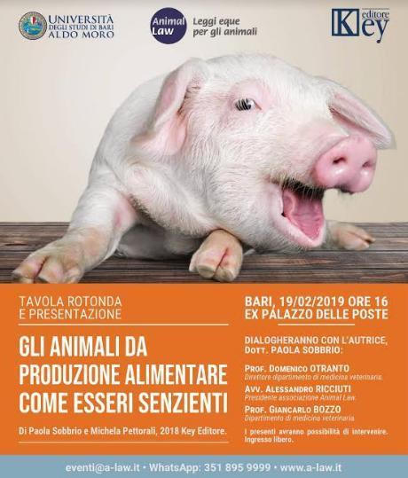 """Tavola rotonda e presentazione: """"Gli animali da produzione alimentare come esseri senzienti: considerazioni giuridiche e veterinarie"""""""