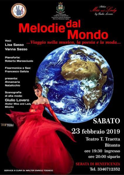 """""""Melodie dal mondo"""", musica, moda e arte parlano il linguaggio universale della solidarietà"""