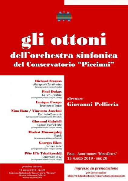 """CONCERTO - Gli Ottoni dell'Orchestra Sinfonica del Conservatorio """"N. Piccinni"""" di Bari"""