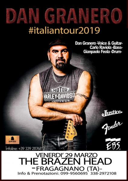 La masterclass e il live di Dan Granero. Venerdì 29 marzo arriva al Brazen Head la star australiana del blues