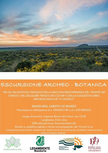 Escursione Archeo Botanico Paesaggistica, sabato 30 marzo a Manduria.
