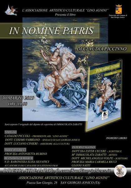 Presentazione del libro di Claudia Piccinno  IN NOMINE PATRIS