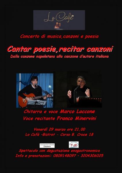 Cantar Poesie, Recitar Canzoni. Concerto con  Franco Minervini e Marco Laccone