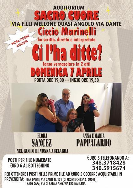 """Ritorna dopo 5 Mesi Ciccio Marinelli Tour con """" Ci l'ha ditte?"""