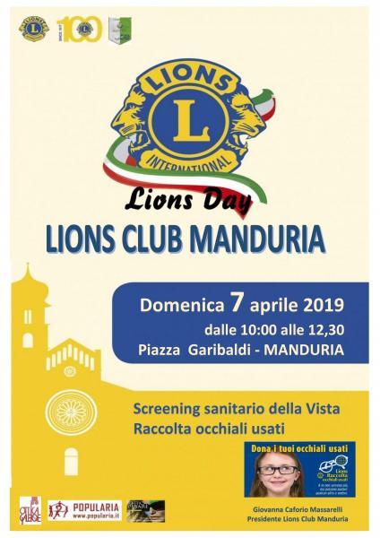 """Screening gratuito della vista e raccolta di occhiali usati per il """"Lions Day"""", domenica 7 aprile a Manduria"""