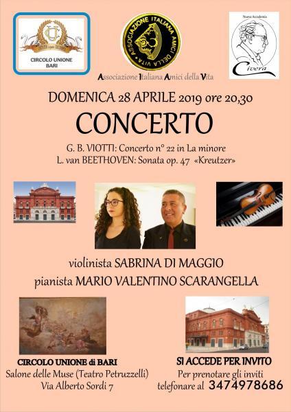Di Maggio e Scarangella (violino e pianoforte) in concerto a Bari