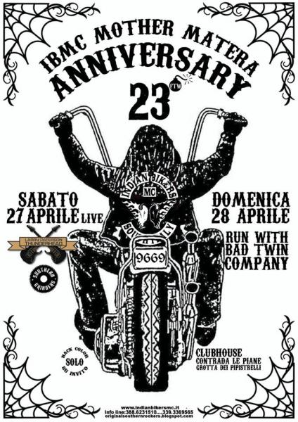 23° Anniversary Party Run With Bad Twin Company INDIAN BIKERS MC MOTHER MATERA