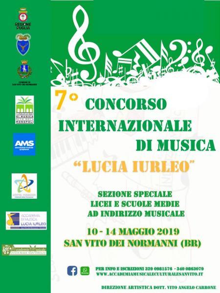 """7° CONCORSO INTERNAZIONALE DI MUSICA """"LUCIA IURLEO"""" SEZIOEN SMIM"""