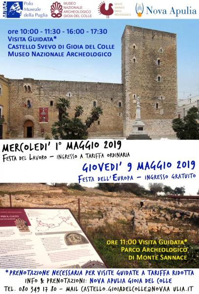 1° maggio e 9 maggio a Gioia del Colle Castello Svevo e Museo Nazionale Archeologico
