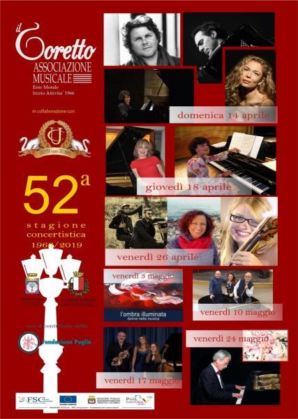 """52^ Stagione Concertistica  de """"IL CORETTO """" eventi finali del  10 - 17 -24  Maggio 2019"""