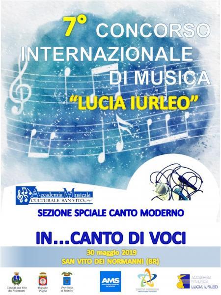 """CONCORSO INTERNAZIONALE DI MUSICA """"LUCIA IURLEO"""" SEZIONE SPECIALE IN CANTO DI VOCI"""