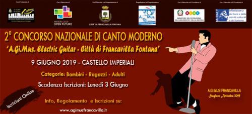 """2° Concorso Nazionale di Canto Moderno """"A.Gi.Mus. Singer - Città di Francavilla Fontana"""""""
