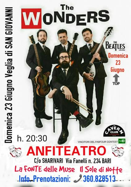 "VEGLIA DI SAN GIOVANNI all' ANFITEATRO c/o Sharivari con i ""WONDERS"" tribute band dei BEATLES."