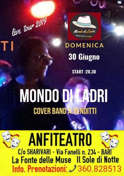 """Concerto: """"Omaggio ad ANTONELLO VENDITTI"""" con la Cover Band """"Mondo di Ladri"""" Domenica 30 Giugno ANFITEATRO c/o Sharivari."""