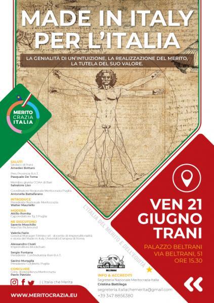 """Convegno nazionale """"MADE IN ITALY PER L'ITALIA"""" di Meritocrazia Italia"""