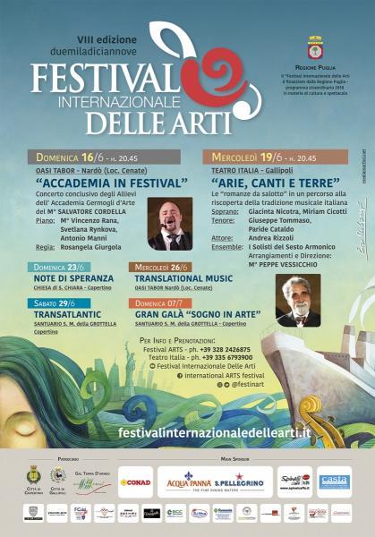 Parte domenica da Nardò il Festival Internazionale delle Arti del Maestro Salvatore Cordella