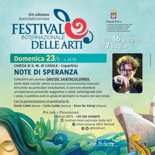 Davide Santacolomba, pianista non udente, per il Festival Internazionale delle Arti