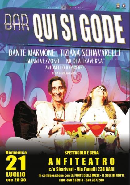 """Compagnia ANONIMA G.R. in """"Bar qui si gode"""" la comicissima commedia in Scena Domenica 21 Luglio all' ANFITEATRO Sharivari."""