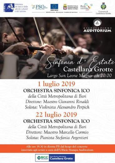 A Castellana due concerti dell'Orchestra Sinfonica della Città Metropolitana di Bari