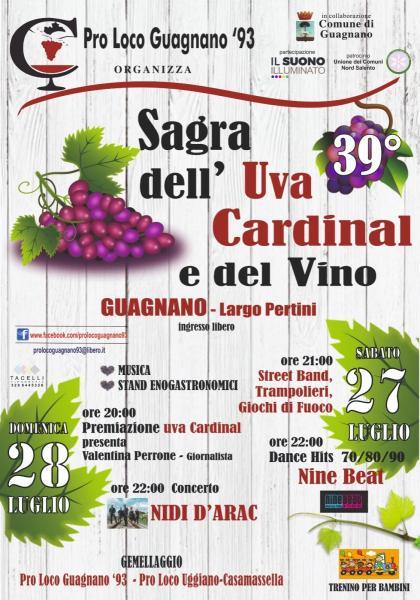 A Guagnano (Le) il 27 e il 28 luglio va in scena la 39ª Sagra dell'Uva Cardinal e del Vino