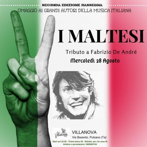 """Rassegna """"Omaggio ai grandi autori della musica italiana"""": I Maltesi in concerto, omaggio a Fabrizio De Andrè"""