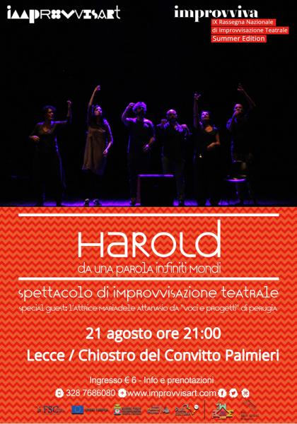 """""""Harold, da una parola infiniti mondi"""" - spettacolo di Improvvisazione Teatrale"""