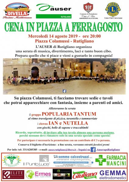 Cena in Piazza a Ferragosto con l'Auser APS: porta una persona anziana tra cibo, musica e tanto divertimento!