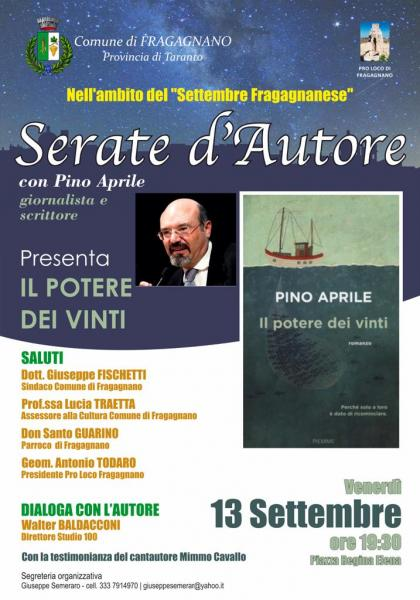 Serate d'autore con...il giornalista e scrittore Pino Aprile.