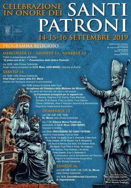 Il Programma religioso per la Festa dei Santi Patroni di Andria