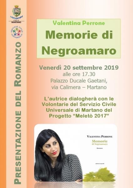 """Presentazione del Romanzo """"Memorie di Negroamaro"""" di Valentina Perrone"""