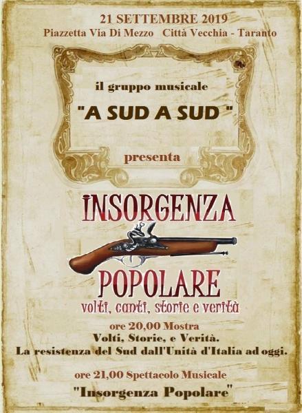 """""""INSORGENZA POPOLARE! VOLTI, CANTI, STORIE E VERITÀ"""". Spettacolo Musicale"""