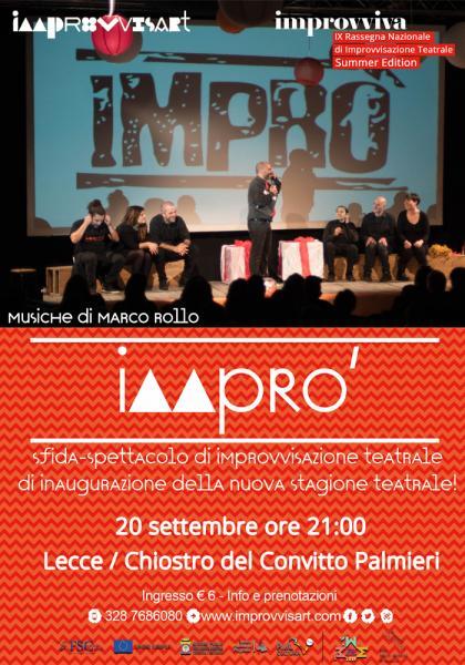 """""""Imprò - la sfidi di Improvvisazione Teatrale"""" il 20 settembre a Lecce"""