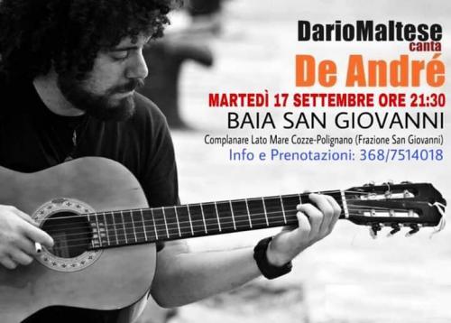DarioMaltese canta De Andrè live@ Baia San Giovanni a Polignano a Mare