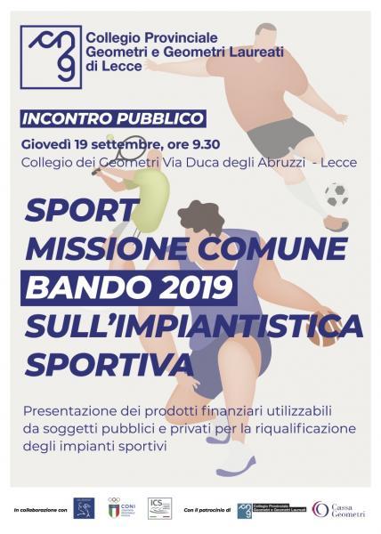 """Seminario """"Sport Missione Comune - Bando 2019 sull'impiantistica sportiva"""""""