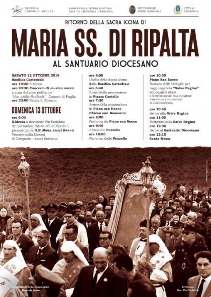 Ritorno della Sacra Icona di Maria SS. della Ripalta al Santuario Diocesano