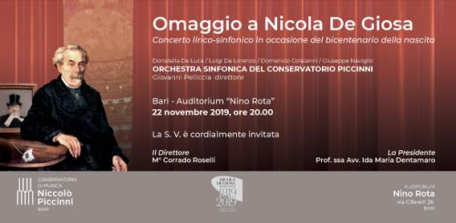 """Omaggio a Nicola De Giosa - Concerto lirico-sinfonico in occasione del bicentenario della nascita, in collaborazione con """"Nicola De Giosa Musicista barese 1819 – 2019 Celebrazioni Bicentenario"""""""