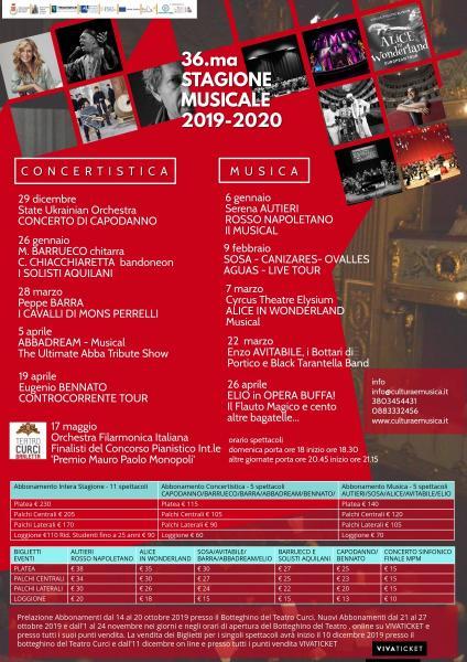 """36.ma Stagione Concertistica Dell'associazione Cultura e Musica """"G.Curci"""" il """"teatro Musicale"""" per Tutti i Gusti"""