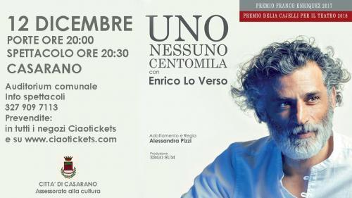 """""""Uno nessuno centomila"""" con Enrico Lo Verso va in scena a Casarano"""