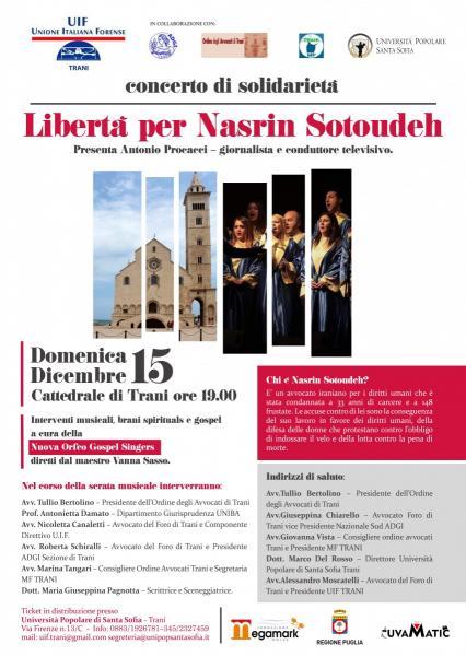 """Libertà per Nasrin Sotoudeh. Il concerto di solidarietà con """"Nuova Orfeo Gospel Singers"""" a sostegno dei diritti umani. Anche una raccolta firme di Amnesty international"""