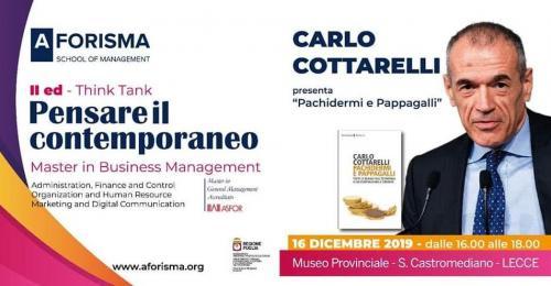 """Carlo Cottarelli apre la seconda edizione di """"Pensare il contemporaneo"""""""