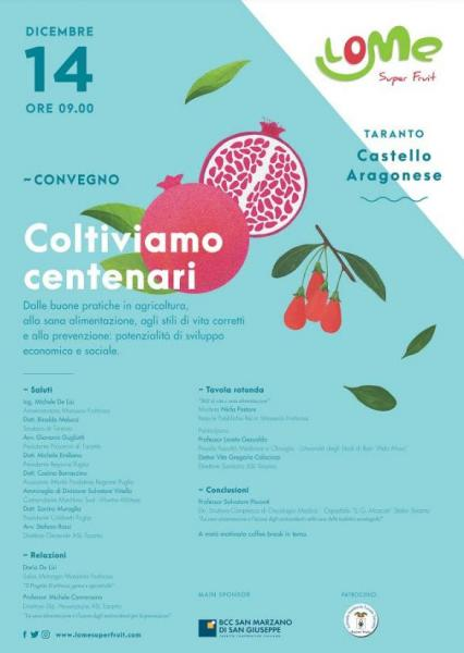 Coltiviamo centenari, convegno sulla Melagrana a Taranto