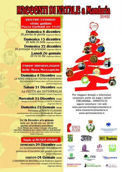 """""""RACCONTI DI NATALE"""": il programma eventi nel Centro Storico, Parco Archeologico e Museo Civico di Manduria."""
