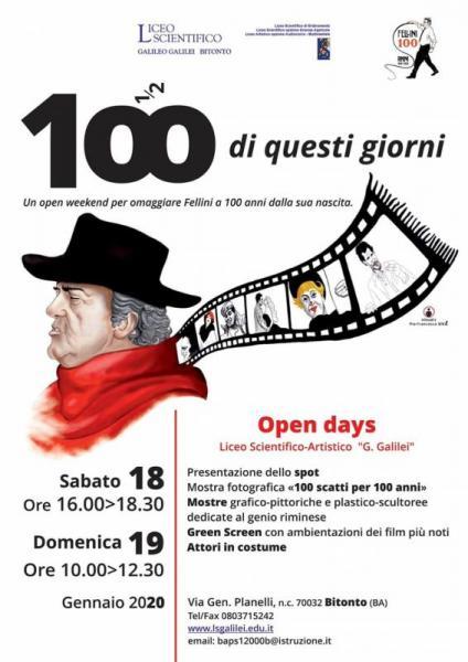 """Il liceo """"Galilei"""" celebra i cent'anni dalla nascita di Federico Fellini con """"Cento di questi giorni"""""""