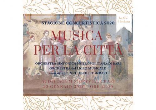 """CONCERTO PER LA CITTÀ - Orchestra Metropolitana di Bari e Orchestra del Liceo Musicale """"D. Cirillo"""""""