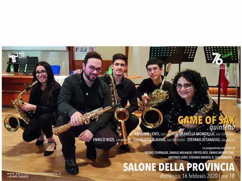 GAME OF SAX , quintetto di sax